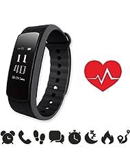 endubro i3HR Oled Pulsera Smart Bluetooth, Pantalla Táctil, Podómetro, Seguimiento de calorías, Sleep Monitor) para Android y IOS (Negro)