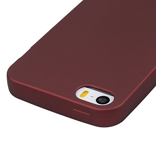 Custodia iPhone 5s,5,iPhone SE Case Silicone Ultra Slim - MAXFE.CO Cover Morbido TPU Gel,Shock-Absorption Bumper,Ultra Sottile Liscio,Superficie liscia - oro rosa marrone