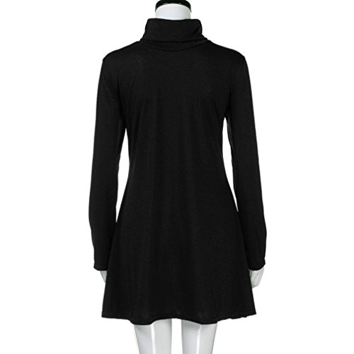 Robe Femme Fille Longra Uni Col roule Manches longues Robe Femme Long T-shirts Femme Mini Robe Femme Basique Casual Tunique Style Tops Long Mi-Longue Robe A-Line Robe Swing Robe Élégant Noir