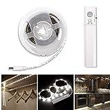 LED Streifen LED Strip LED Band LED Leiste LED Lichtleiste mit Bewegungsmelder Batteriebetrieben für Kinderbet,Schrank, Schublade, Treppe, Schlafzimmer, Wohnzimmer, Küche,1M,30 LEDs (Weiß, 1M)