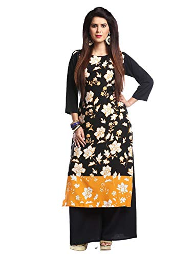 1 Stop Fashion Women's Black Crep Knee Long Straight Kurti