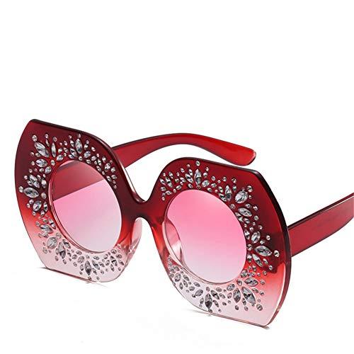 Wenkang Übergroße Strass Sonnenbrille Frauen Brillen runde Linse Frauen Sonnenbrille Uv400 Zubehör,6