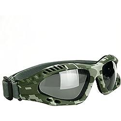 binboll ajustable al aire libre de protección UV gafas motocicleta Gafas a prueba de polvo Gafas de combate Militar gafas de sol al aire libre gafas tácticas de protección para evitar las partículas y niebla en Colorful (colorido), camuflaje