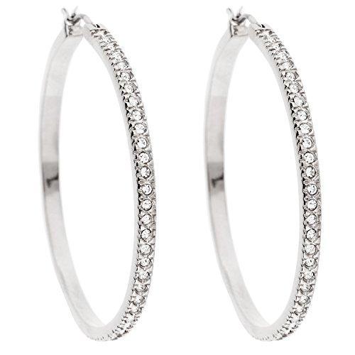 MYA art Damen Creolen Ringe Rund mit Swarovski Elements Kristallen Strass Steinen Ohrringe Hängend Vergoldet Silber Weiß MYAWGOHR-76