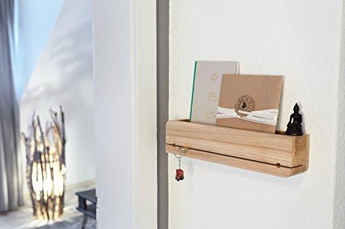 Natuhr Schlüsselbrett Ablage Eiche Massiv DO•ORGANIZER Schlüsselhalter 35 x 6 x 8 cm Schlüsselleiste (Eiche unbehandelt) - Schlüsselbrett-organizer