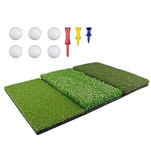 QUUY Golf Übungsmatte Trainingsmatte 3 Unterschiedlichen Oberflächen Kunstrasen Mit 6 Schaumbällen Und 3 Kunststoff Tee Halter, Golf Abschlagmatte Mit Rutschfester Gummiboden 63,5 X 41 cm
