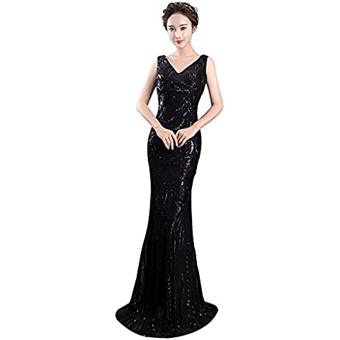 Women's V Neck Evening Cocktail Maxi Sleeveless Embellishment Sequin Mermaid Dress Bridesmaids Dresses