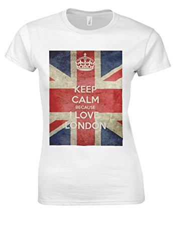 Keep Calm Because I Love LONDON White Women T Shirt d'occasion  Livré partout en Belgique