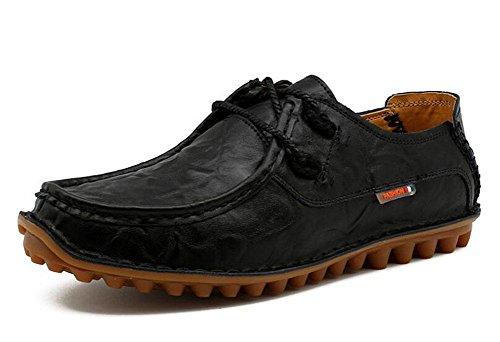 SHINIK Chaussures de sport pour homme Chaussures de sport en cuir non glissantes Black