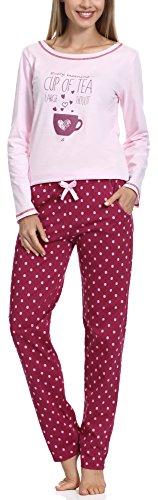 Merry Style Damen Schlafanzug 1003 (Rosa-1A, S) (Set Capri-baumwoll-pyjama)