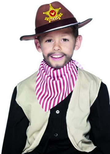Confettery - Kostüm Accessoires Zubehör Kinder Sherrif Hut mit Abzeichen, perfekt für Karneval, Fasching und Fastnacht, ()