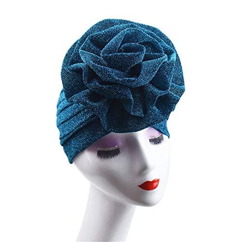 BDSWDSRT Elegante Blumen-Moslemischer Hut-Damen-Kappen GläNzender Schimmer-Glitter Funkelnde Turban-Hut-Hijab-Kappe Teal (Hintergrund Teal Glitter)