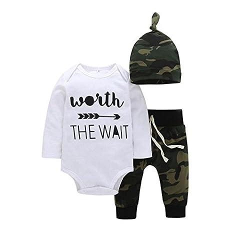Armeegrün Outfits Hirolan Neugeboren Baby Unisex Brief Spielanzug Hose Outfits Mädchen Junge 3 Stück Kleider (Weiß, 90cm)