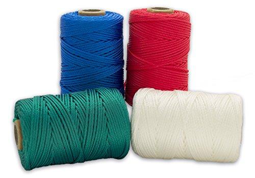 Cordamanía CMHP00PYZZ - Pack de 4 unidades de hilo de replanteo (100 m) color blanco, rojo, verde y azul