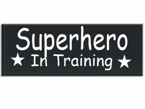 Norma Lily Superheld in Training Boy 's Room Holz Handgemalt 40,6x 14cm ()