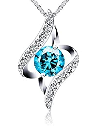 """J.Rosée Collar Plata de Ley 925 """"Ángel de la Guarda"""" Cristal Azul Rodeado de Diamantes para Mujer para Madre"""