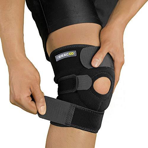 Bracoo KS10 Kniebandage Sport und Alltag - medizinischer Knieschoner - Kniestütze mit Klettverschluss und Patellaöffnung für Damen und Herren (schwarz)