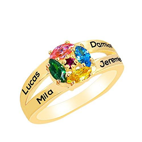 Y.Verve Personalisierte Frauen Ringe graviert 5 Namen 5 Monatsstein Ringe für Mama Benutzerdefinierte Ring Schmuck für Familie Geschenke(14 Karat vergoldet ()