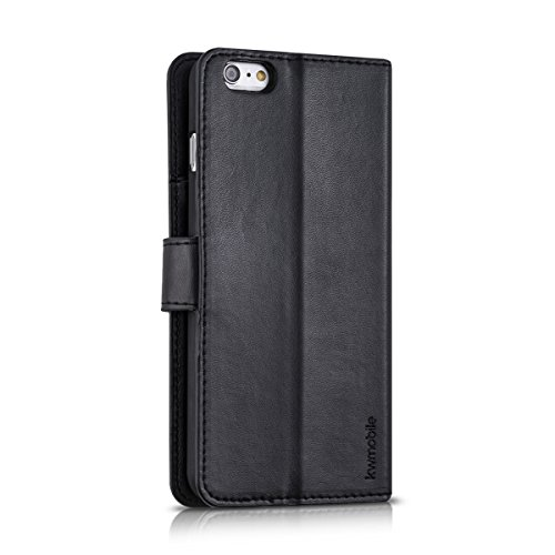 kwmobile Hülle für Apple iPhone 6 Plus / 6S Plus - Wallet Case Handy Schutzhülle Kunstleder - Handycover Klapphülle mit Kartenfach und Ständer Kupfer Schwarz .Schwarz