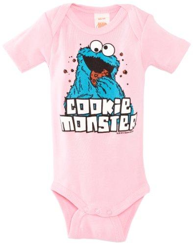 ster Baby-Body Kurzarm Mädchen - Sesamstrasse - Cookie Monster Baby Strampler - rosa - Lizenziertes Originaldesign, Größe 74/80, 7-12 Monate (Mädchen Cookie Monster Kostüme)