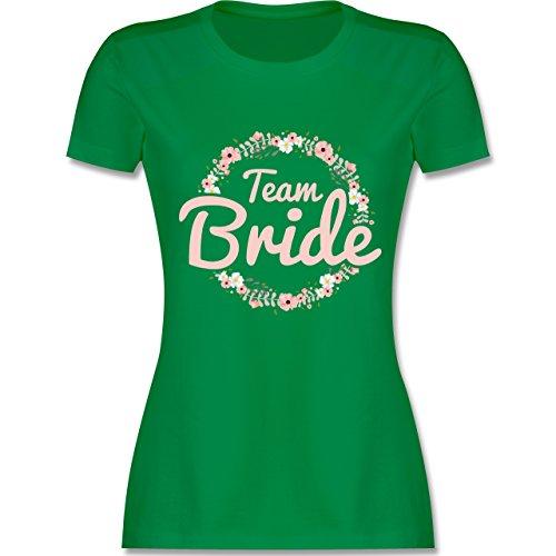 JGA Junggesellinnenabschied - Team Bride Blumenkranz rosé - L - Grün - L191 - Damen T-Shirt Rundhals