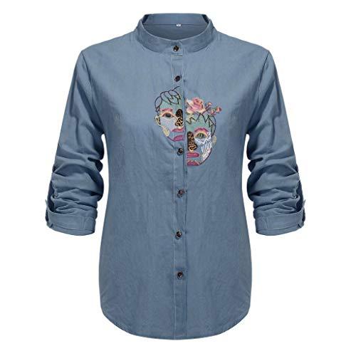 QingJiu Damen Große Größe Langarm Ärmel Aufrollen Jahrgang Bestickte Taste Shirt Top - Taste Tan Kleid Anzug