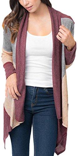 Charmley Femme Gilet Manche Longue Cardigan Ouverte Longue Casual Irrégulière Pull Chandail Grande Taille Sweatshirt Bordeaux