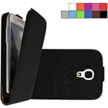 COOVY® COVER CASE CUBIERTA DELGADO FUNDA PROTECTORA CON TAPA PARA Samsung Galaxy S4 MINI GT-i9190 GT-i9195 GT-i9192 con lámina projoectora de pantalla color negro