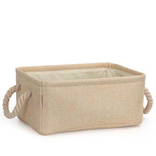 Cosyland Aufbewahrungsbox Faltbar Speicher Korb (Beige Gr.M) aus Leinen für Kleidung, Bücher, Spielzeug, Schublade und Schrank