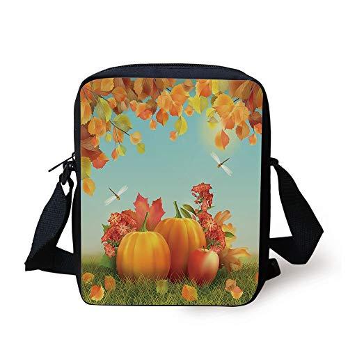 WITHY Harvest,Fall Season Yield Thanksgiving Image Fallen Leaves Branches Pumpkins Decorative,Orange Vermilion Green Print Kids Crossbody Messenger Bag Purse