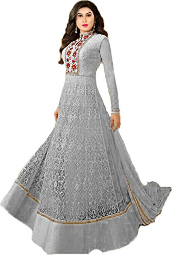 RTHub Women\'s Net Embroidered Semi Stitched Anarkali Salwar Suit (Grey_Free-Size_ nitya-Grey01)