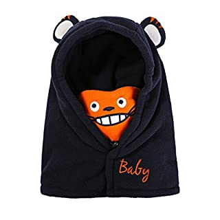 ACVIP Kids Baby Cartoon Balaclava Hood Winter Thermal Fleece Cycling Ski Windproof Hat (Navy Blue)