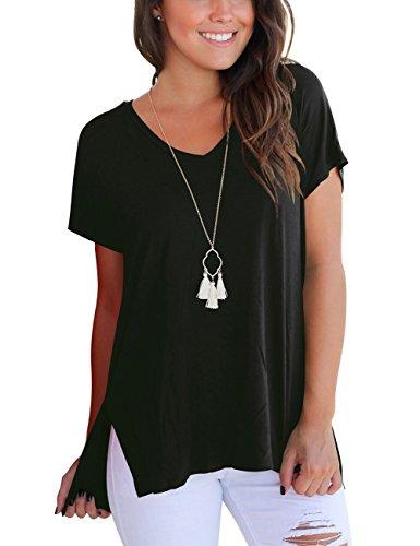 Kurzarmshirt Damen Schwarz V-Neck T-Shirt Loose Oversize Basic Tshirts High Low M