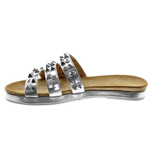 Angkorly Chaussure Mode Sandale Mule Slip-On Femme Multi-Bride Clouté Brillant Talon Bloc 2.5 CM Argent