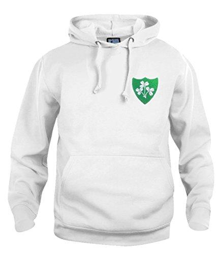 Retro Republik Irland 1970's Jahre Rugby Kapuzepullover Größen S-3XL gesticktes Logo - Weiß, XX-Large (Gestickt Rugby)