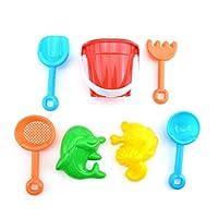 beautijiam 7Pcs Mini Beach Toys Sand Toys Set, Shovel Rake Bucket Molds Play Toy for Toddlers, Kids, Children Outdoor Garden Sandpit, Random Color