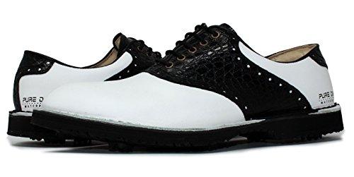 Portmann 2018Saddle Classic Tour Golfschuhe für Herren | Hochwertiges Leder | Rahmengenäht | Zwischensohlennaht | Leicht und Flexibel | Pure-Drive-Technologie, Schwarz - WHITE \ BLACK CROC - Größe: 42 (Golf Tour Schuh)