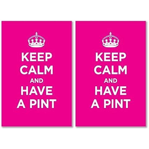 Confezione di Adesivi in Vinile lucido: Keep Calm And Have Pinta Rosy Rosa WW2WWII parodia cartello (2adesivi, 10x 15/5,9x 3.9in)