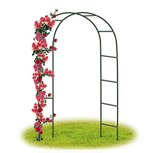 Forever Speed Steel Frame Garden Arch /Rose Arch for Roses Climbing Plants  Support Archway Garden / Wedding Decoration 240 cm x 140 cm x 38 cm, Green