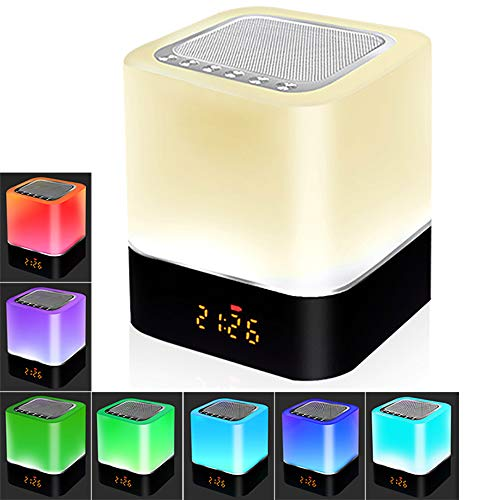 Bluetooth Lautsprecher LED Nachttisch Lampe Touch Sensor Dimmbar, 5 IN 1 Nachtlicht, Wecker Digital, Freisprechen, MP3-Player, Lautsprecher Boxen, Bestes Geschenk (Quadrat)