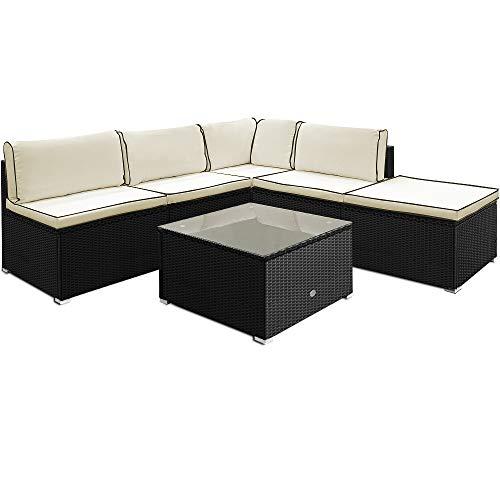 Deuba Poly Rattan Premium Lounge Set Extra Dicke Auflagen & Kissen Tisch Ecksofa Sitzgruppe Garten Möbel Schwarz L-Form