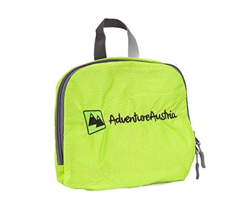 Grau 35l Faltbarer Rucksack von AdventureAustria – Leichtgewicht Klein Praktische Wasserabweisend Reise Tagesrucksäcke. Eigene Tragetasche Faltet Zusammen für Einfache Lagerung. Perfekt für Wandern Tr Hellgrün
