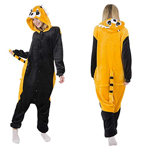JYLW Damen Schlafanzug Erwachsene Einteilige Onesie Einhorn Halloween-Kostüme Für Frauen Monster Hooded Winter Warm Women Animal Pyjamas, Procyon Lotor Onesie, M