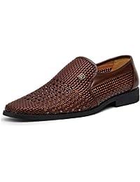 Slip-Ons y mocasines para hombres, trajes de hombre de primavera y verano, zapatos de cuero puntiagudos huecos,…