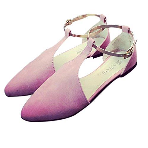 Omiky® Frühlings-Art- und Weisefrauen-Schuh-Punkt-Zehe-Beleg-Auf flache Schuhe Bequeme Wohnungen Rosa