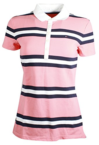 Tommy Hilfiger Women's 5 Button Striped Polo Shirt (Small, Salmon/Navy/White) -