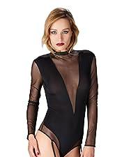 Maison Close 609950 Women's Liason Fatale Black Solid Colour Bodysuit One Piece Body