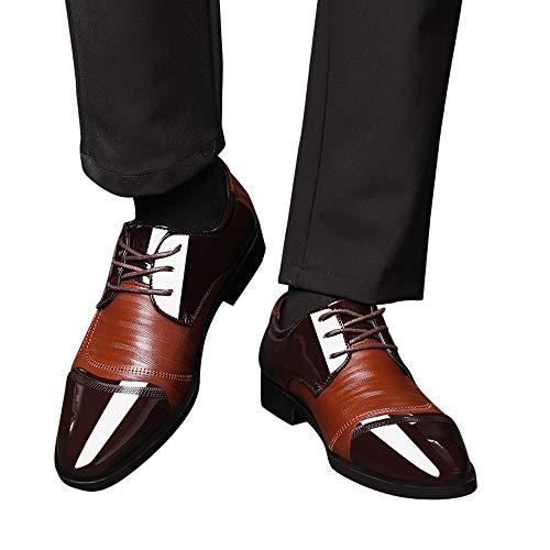 Beikoard -25% scarpe uomo scarpe da uomo con fibbia in pelle traforata moderna classica con lacci(marrone,40)
