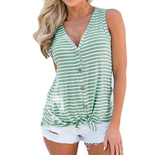 Womens Tank Tops, SHOBDW Summer Beach Fashion V-Neck Bow Sleeveless Sexy Stripe Button Sexy Loose Tank Tops Casual Blouse for Women (Green, S)