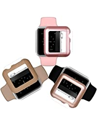 Custodia per Apple Watch Case & Glass 42mm | iCASEIT Premium Quality: Slim & Light | Impact & Scratch Protection (Include 3 Screen Protectors) Apple Watch 42mm | Gold, Rose Gold & Walnut